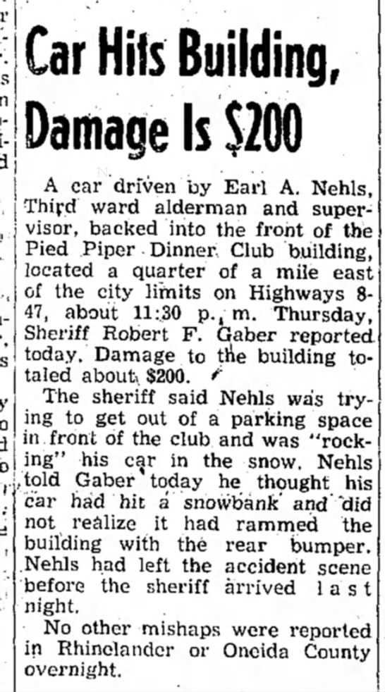 Earl Nehls - Car Hits Building, Damage Is $200 A car driven...