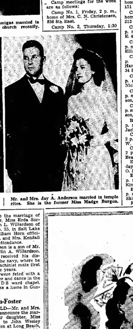 """1946 Madge Burgon marries - """" Camp meetings for the week are as follows:..."""