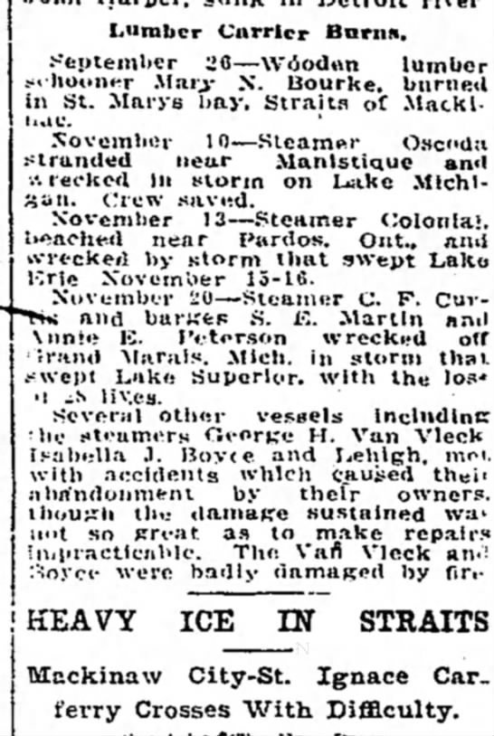 29 Dec 1914 steamer Geo. H. Van Vleck - Lumber Carrier Barns, September 26 Vdodn lumber...
