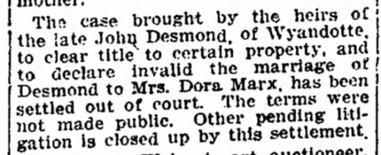 Desmond-Marx settle out of court - ThR case brought by the hen's ot the late John...
