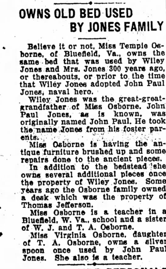 Owns Old Bed Used By Jones Family - 23 October 1932 - Page 5 Bluefield Daily Telegraph - OWNS OLD BED USED BY JONES FAMILY Believe It or...