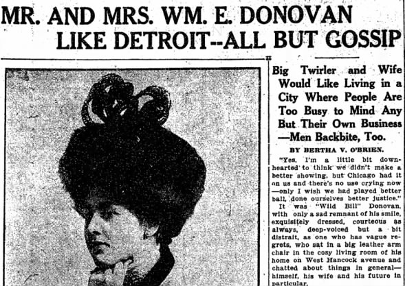 Detroit Free Press: Mr. and Mrs. Wm. E. Donovan Like Detroit, 1908