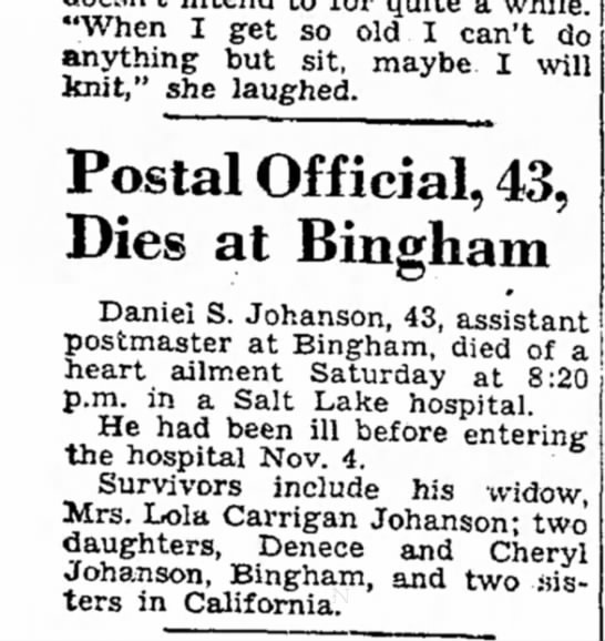 1948 Johanson, Dee brief obit