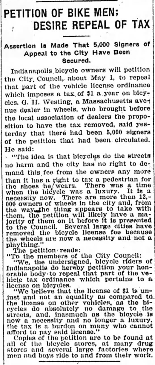 April 3, 1905 Indianapolis Star - PETITION OF BIKE MEN; DESIRE REPEAL OF TAX...