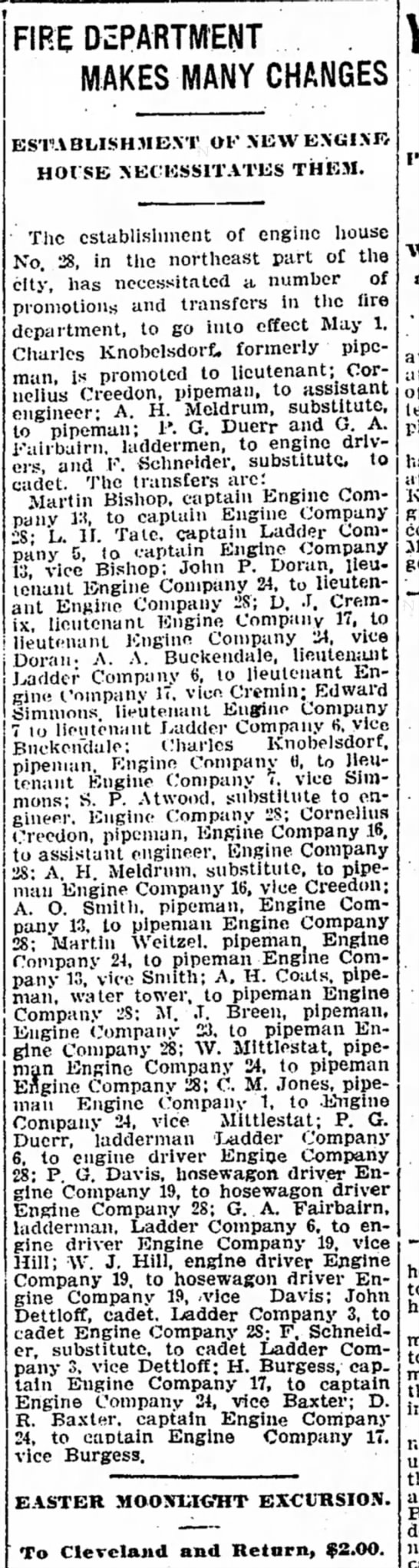 Detroit Free Press April 18, 1905 - FIRE DEPARTMENT MAKES MANY CHANGES...