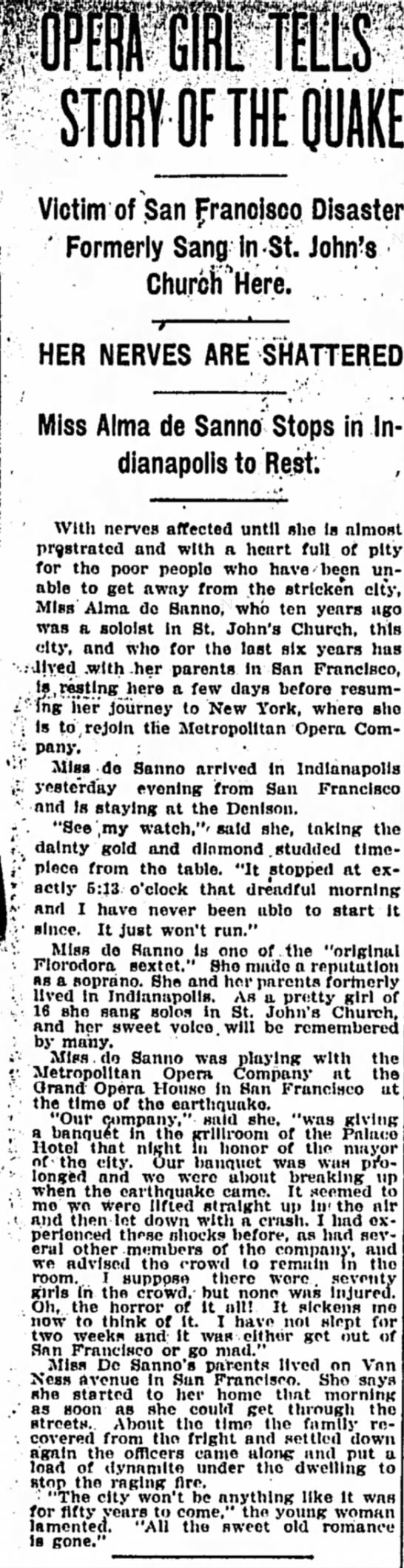 DeSanno, Alma The Indianapolis Star, Indianapolis, IN May 11 1906, Pg 7 - mm m rrnA 1 STORY OF THE QUAKE Victim of San...