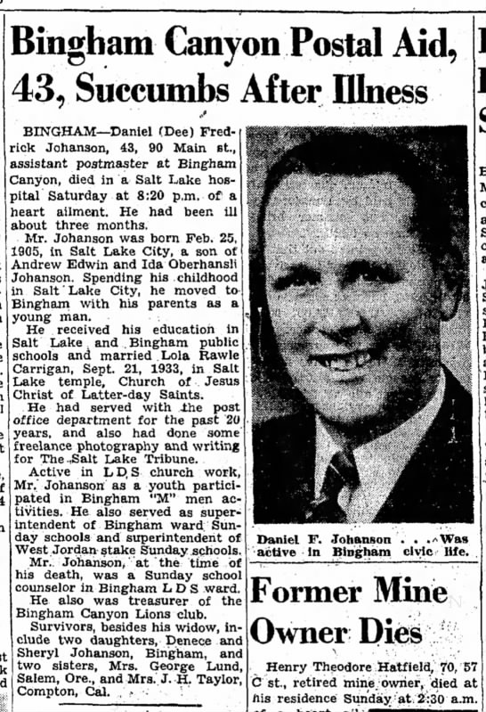 Dee Johanson Obit, 22 Nov 1948 SLTrib, p 20 - Bingham Canyon Postal Aid, 43 r Succumbs After...
