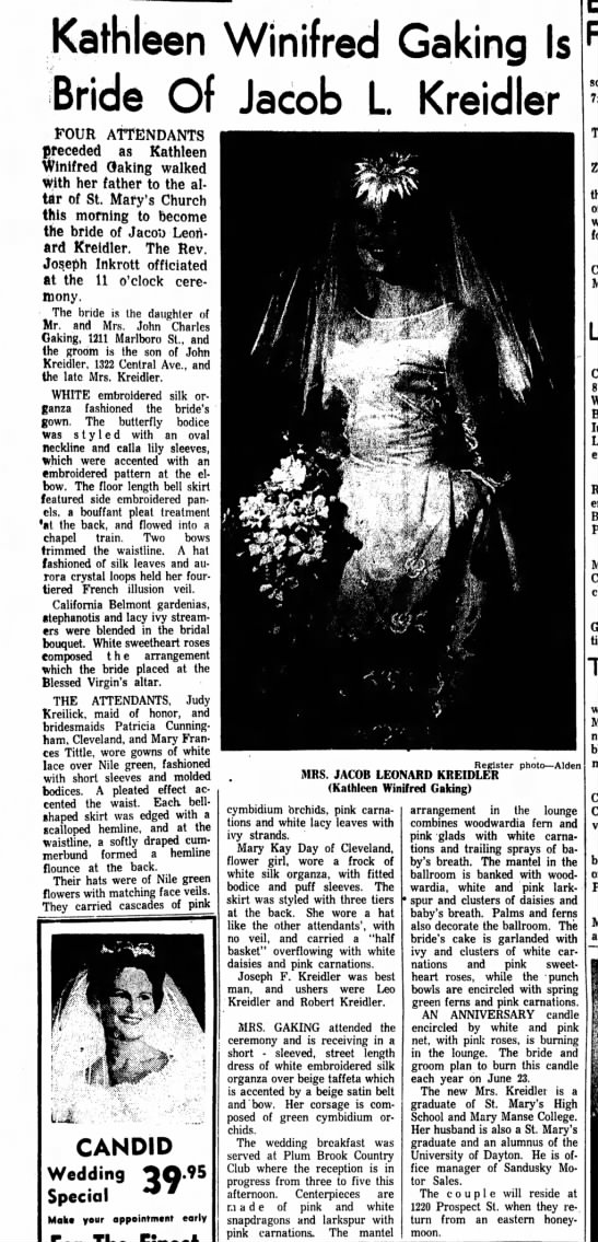 Kathleen Winifred Gaking  weds Jacob Kreidler June 23 1962 - Kathleen Winifred Gaking Is Bride Of Jacob L...