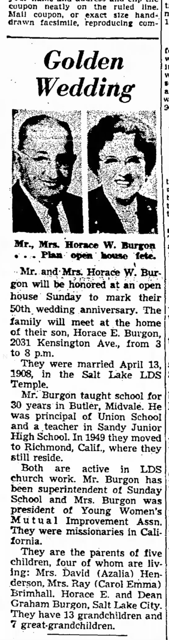 Horace & Mary Alice Graham Burgon 50th Wdg. Ann. 1958 - cuupon neatly on the ruled line. Mall coupon,...