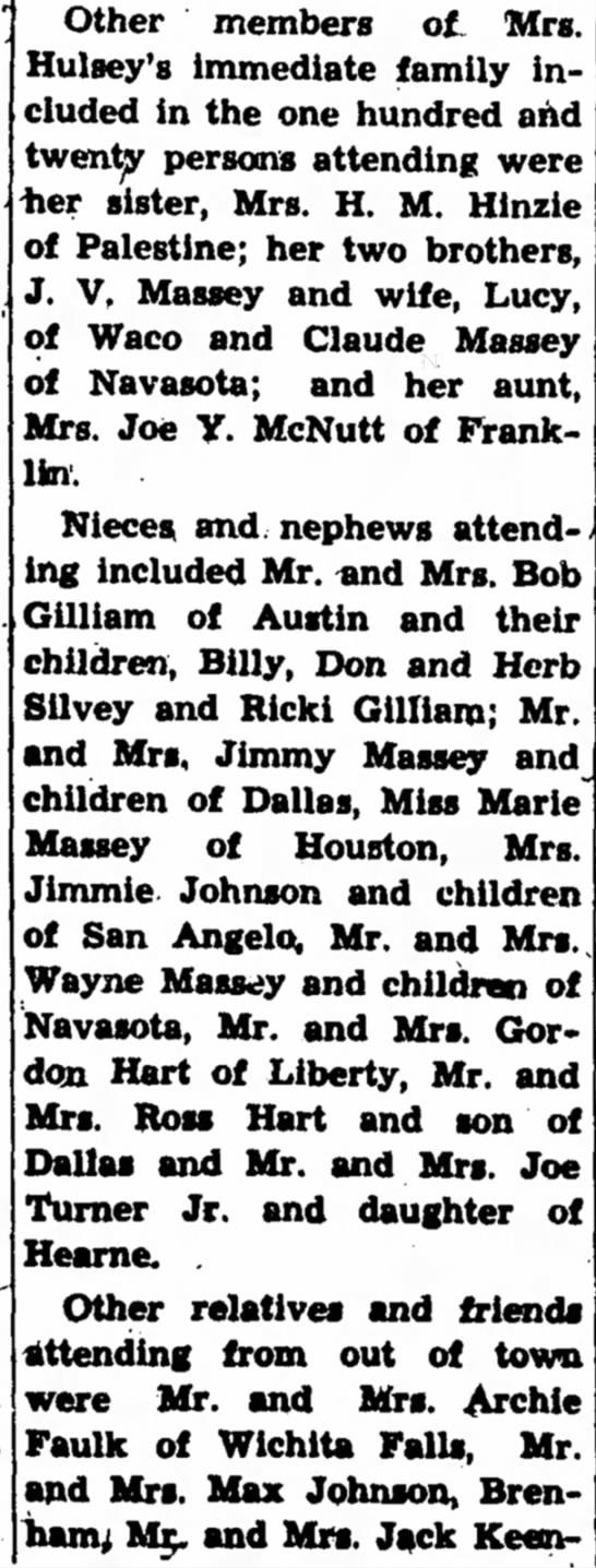 Dora Massey Hart Hulsey 75th Birthday, part 2 - Other members of, Mrs. Hulsey's Immediate...