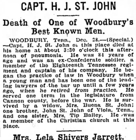 Henry Jefferson St. John - Brother to my GG Grandfather, George Richard St. John - CAPT. H. J. ST. JOHN Death of One of Woodbury's...
