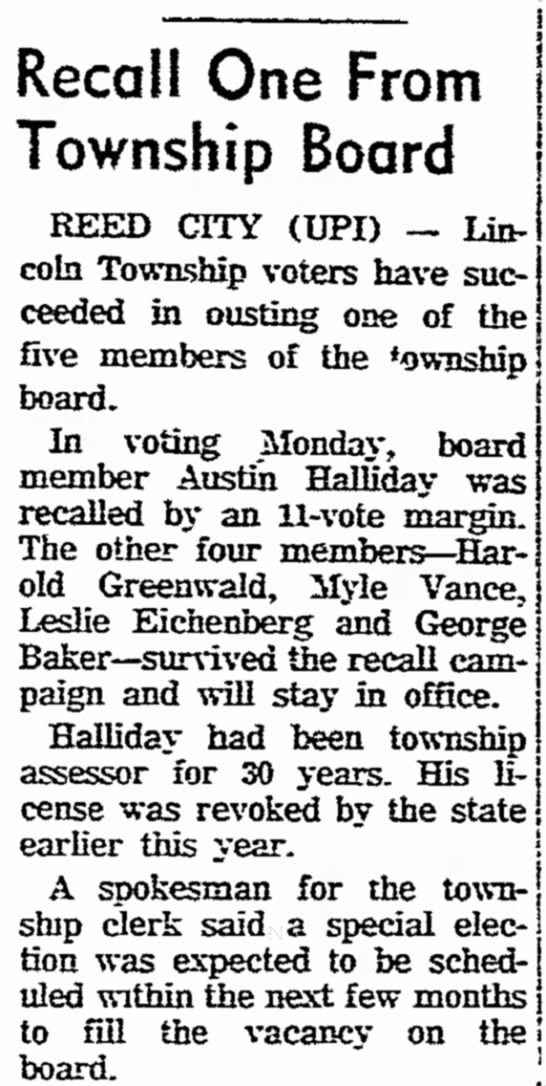 - Recall One From Township Board REED CITY (UPI)...