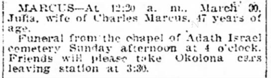 Drautman, Julia(Marcus)-Obit #2 Mar 1912 - MARCITS-At MARCITS-At MARCITS-At 12:3) a. ni.....