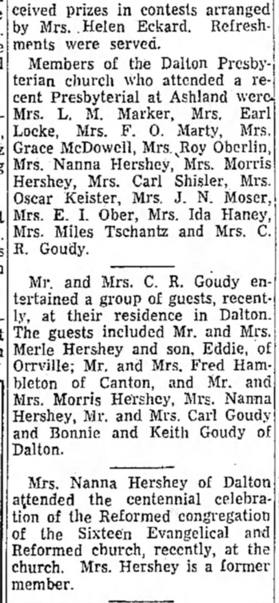 Nanna Hershey, Merle Hershey, Morris Hershey