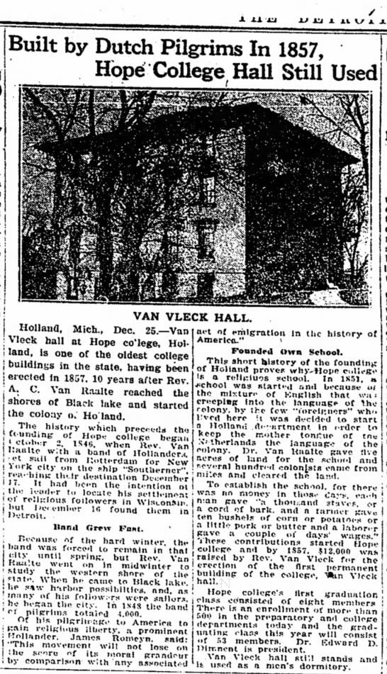 VV Hall Holland MI 26 Dec 1920 Det Free Press - 2J Ut A XL S A JL ! : ' 1 f j ' 1 ' ; j ! I...