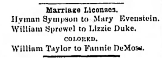 William Sprewel married Lizzie Duke - Marriage Llconsoa. Hyuinn Sympson to Mary...
