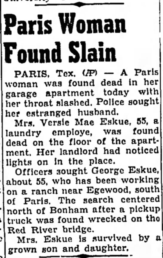 paris  - Paris Woman Found Slain PARIS, Tex. <IFi — A...