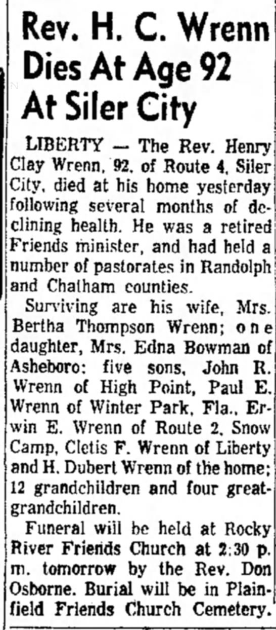 1960 -  Page 1  13 June 1960 Monday High Point Enterprise High Point - Rev. H. C. Wrenn Dies At Age 92 At Siler City...