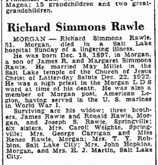 Richard Simmons Rawle obit - Magna: 15 praudchildren and two great-...