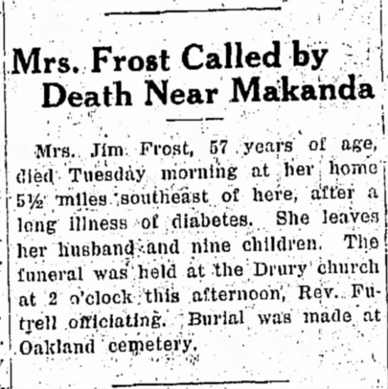 Trusyia Elizabeth Hancock Death - Mrs. Frost Called by Death Near Makahda Mrs.....