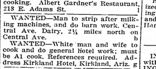 7 30 1917 Arizona republican - cooking. Albert Gardner's Restaurant 218 E....