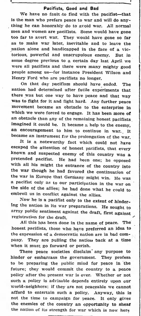 """""""[Pacifists] are pulling the nation back at a time when it must go forward or perish"""" (1917)"""