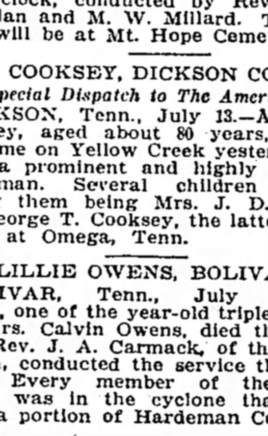 A J Cooksey death. - ana j. w. Millard. will be at Mt. Hope COOKSEY,...
