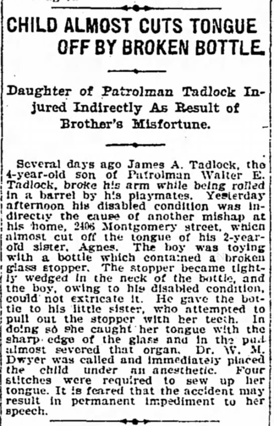 1908-Agnes Tadlock injured - j In a barrel by h'.s playmates. Yesterday i...
