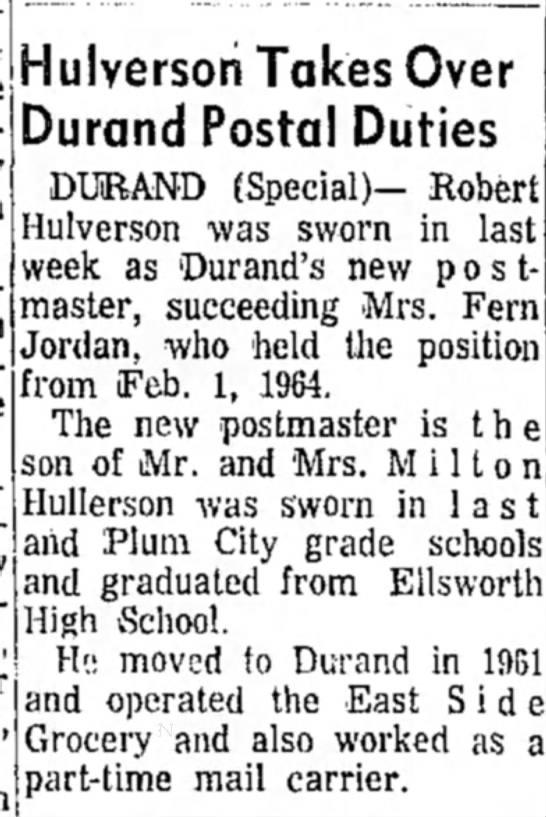 - Hulversoh Takes Over Durand Postal Duties...
