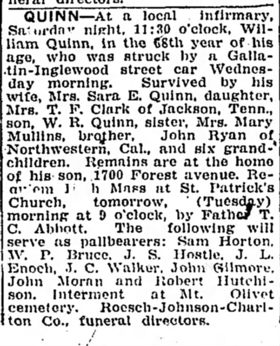 Saint Patrick Funeral William Quinn - QUINN At a local infirmary, Sa'iii-fln'-...