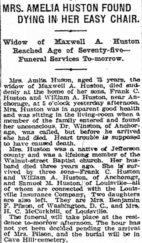 Huson - MRS. AMELIA HUSTON FOUND DYING IN HER EASY...