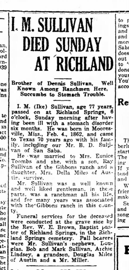 I. M. Sullivan - one to in P I. M. SULLIVAN SUNDAY AT RICHLAND...