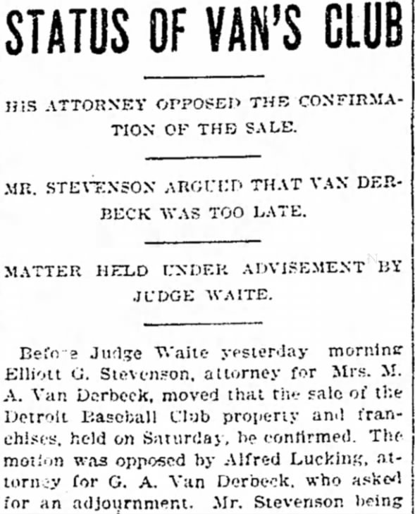Tigers History: Status of Van's Club, 1900