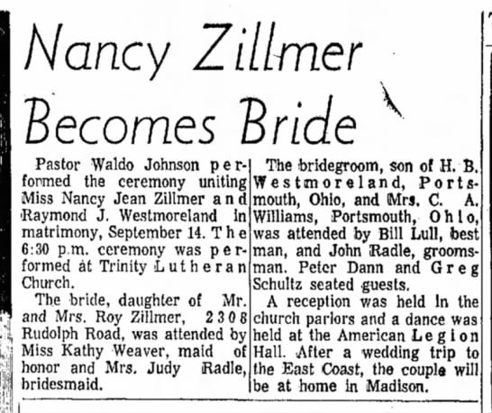 Nancy Zillmer Married Raymond J. Westmoreland (daughter of Roy Zillmer) - Nancy Zillmer Becomes 'Bride Pastor Waldo...