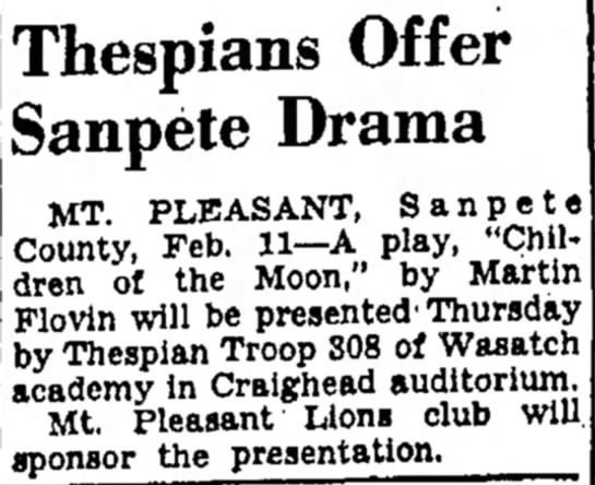 Name should be Flavin - NOT Flovin He is a famous playwright! - Thespians Offer Sanpete Drama MT. PLEASANT,...