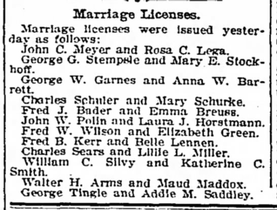 Louisville marriage licenses, 1909 - Marriage licenses. Marriage licenses w?re...
