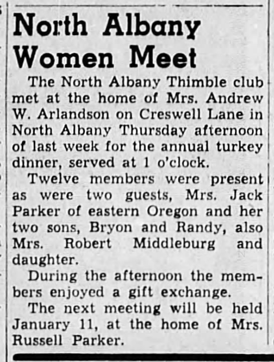 1950-12-21 NAThiC at Arlandsons - North Albany Women Meet The North Albany...