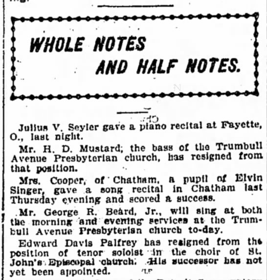 George R. Beard, Choir, Detroit Free Press, January 27, 1901 - WHOLE NOTES AND HALF NOTES. Julius V. Seyler...