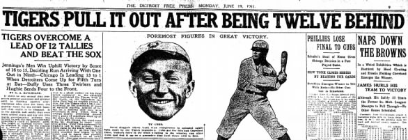 Tigers History: Tigers Pull It Out After Being Twelve Behind, 1911
