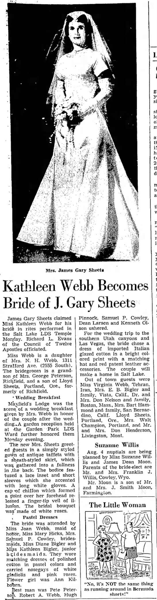 Kathleen Webb Sheets - marriage to James Gary Sheets - Mrs. James Gary Sheeti Kathleen Webb Becomes...