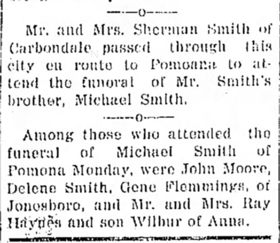 Michael Richard Smith Death - Mr. and Mrs}. Sherman Smith <»' Cfirbondale...