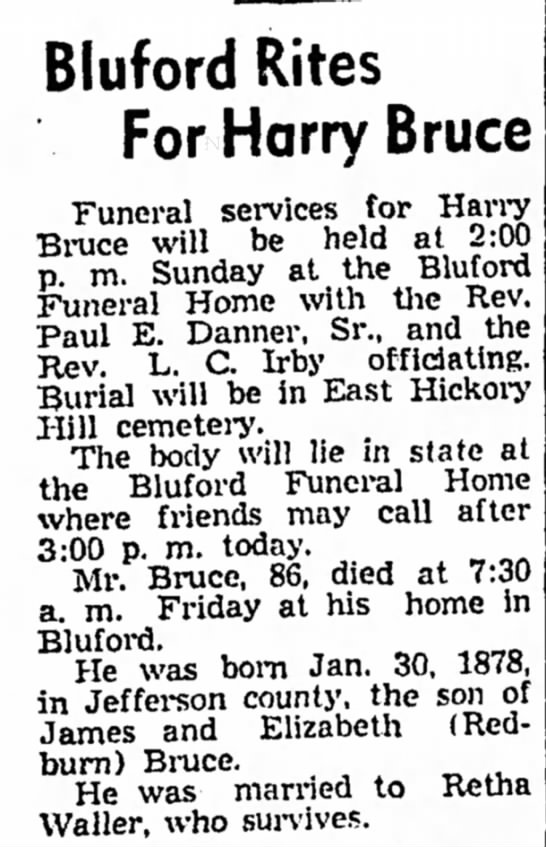 Harry Bruce obit - Bluford Rites For Harry Bruce Funeral services...