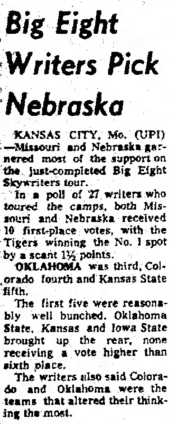 1970.09 Big Eight Skywriters poll