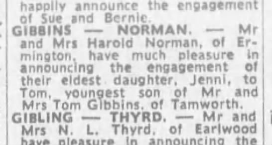 Gibbins-norman engagement 21 oct 1972 - happily announce the engagement of Sue and...