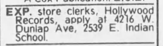 12 Oct 1981 - EXP. store clerks, Hollywood Records, apply at...