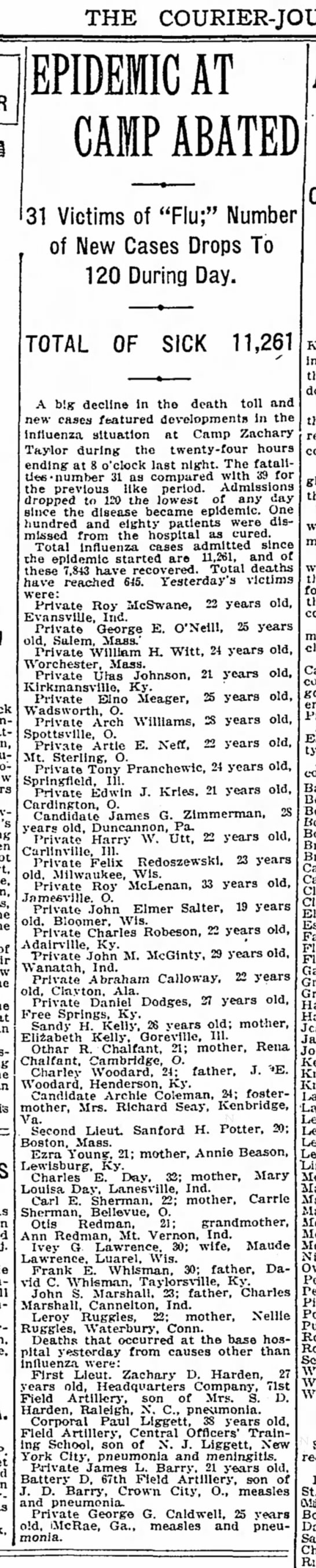 Influenza 1918 - THE COURIER-JOURNAL, COURIER-JOURNAL, EPIDEMIC...
