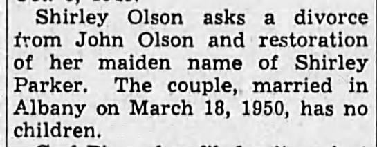 1950-7-13 Shirley seeks divorce - Shirley Olson asks a divorce from John Olson...