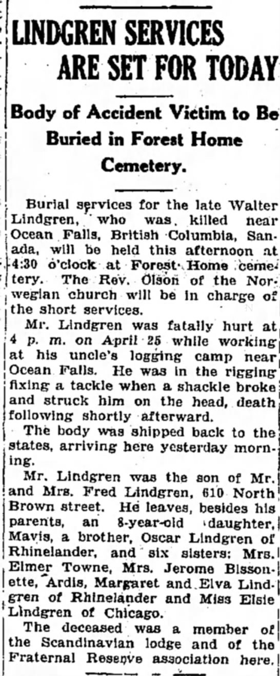 "Walter Lindgren obituary May 8, 1930 - """".."" _ "" Lindgren, ' who was "" .._. Falls,..."