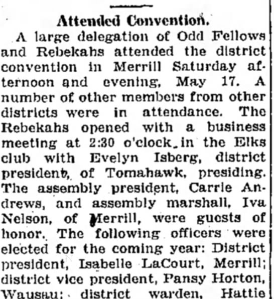 Rhinelander Daily News 21 May 1930 - Attended Convention. A large delegation of Odd...