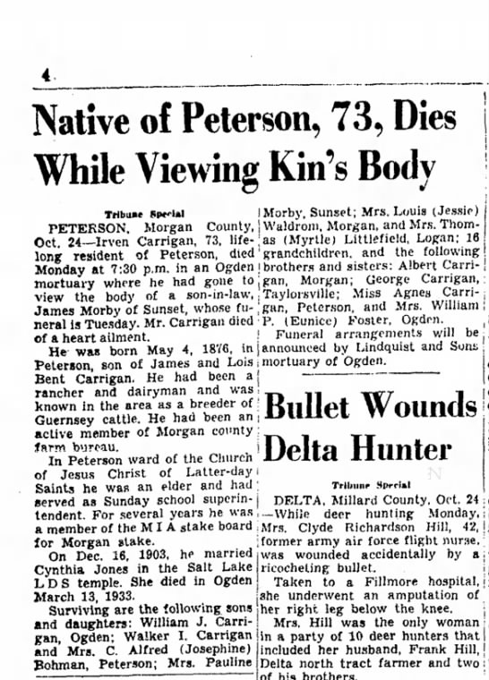 1849 Irven Carrigan's death article in SL Tribune - Native of Peterson, 73, Dies While Viewing...